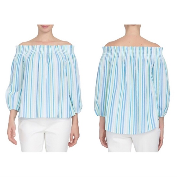 2ec58a61722019 Cynthia Steffe Tops | Nwt Off The Shoulder Stripe Gauze | Poshmark